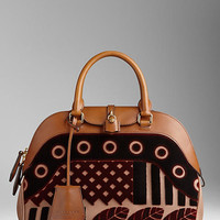 Medium Velvet and Leather Bowling Bag