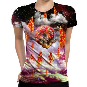 Donut Loving Sloth Womens T-Shirt