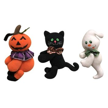 Halloween Stuffed Toy Pumpkin Cat and Cut Ghost shape Ornament Plush Doll Toy for Decorate Halloween Party / Children Room