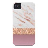 Rose Gold Marble and Glitter Art Effect Phone Case