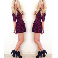 Dress Women Casual Dress Sexy Plaid O Neck Half Sleeve Party Mini Dresses vestido de festa Plus Size IWY66