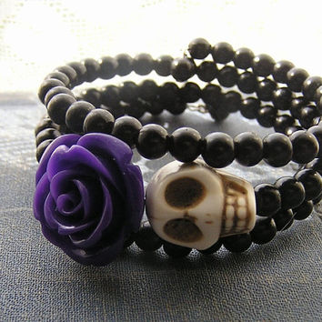 Day of the Dead Bracelet Wrap Around Memory Wire purple rose flower cream skull black plastic