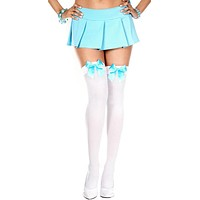 White and Turquoise Bow Semi-Sheer Thigh High