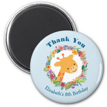 Cute Giraffe with a Floral Wreath Birthday Thanks Magnet