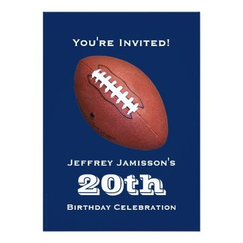 20th Birthday Party Invitation, Football Card