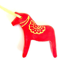 Red Horse Ceramic Ornament, Christmas Decoration, Dala Horse Inspired Pottery