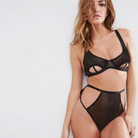ASOS Risky Business Fishnet Underwire Bra Set in Black at asos.com