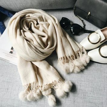 ESBU3C Winter classic solid cashmere texture Scarf and scarves women LICs 2017 Rabbit fur ball fringed thick warm shawl female C024