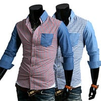 Color Contrast Checkerboard Print Long Sleeve Shirt