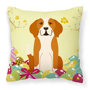 Easter Eggs English Foxhound Fabric Decorative Pillow BB6110PW1818