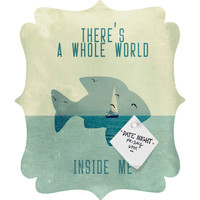 Belle13 There Is A Whole World Inside Me Quatrefoil Magnet Board