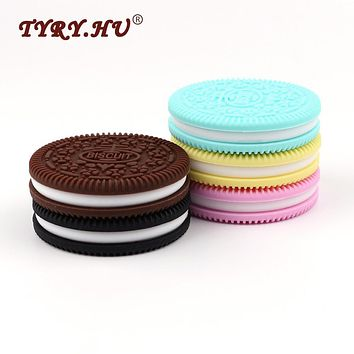 TYRY.HU 3Pcs Cookies Silicone Baby Teethers BPA Free Food Grade Baby Chewable Teething Toys Fashion Jewelry Necklace Pendant