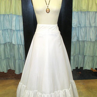 White Bridal Crinoline Petticoat High Waisted and Floor Length with Lace and Tulle S/M
