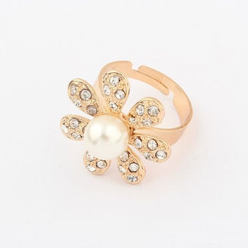 Shiny Jewelry New Arrival Gift Korean Stylish Hot Sale Simple Design Rhinestone Pearls Accessory Ring [4918799108]