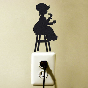 Victorian Girl Velvet Wall Sticker - Black Fabric Country Style Wall Decal - Vintage Inspired Wall Decor