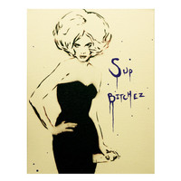 LADY SPRAY 2 Graffiti and Pop Art Inspired 11x14 Original Painting on Canvas