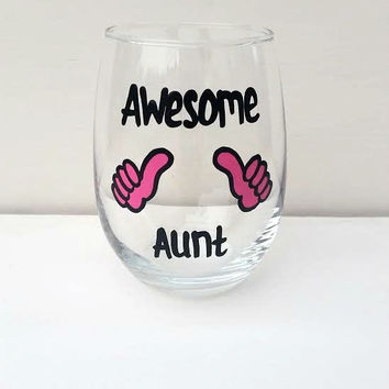 Awesome Aunt handpainted stemless wine glass