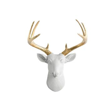 The Mini Virginia | Deer Head | Faux Taxidermy | White  + Gold Antlers Resin