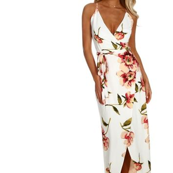 Hamptons Weekend White Floral Wrap Maxi Dress