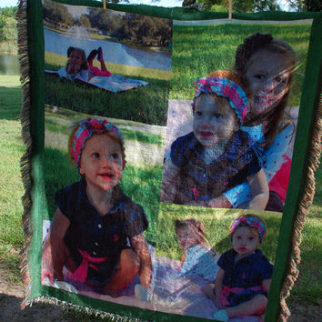 Woven Photo Blanket, Woven Photo Blanket, Photo Blanket Collage, Photo Gift, Mothers Day Gift