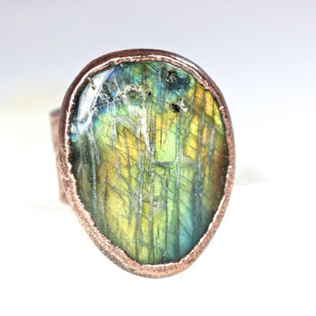 Labradorite Ring Big Ring Gemstone Jewelry Blue Stone Ring Natural Stone Labradorite Jewelry Mineral Jewelry Electroformed Ring Size 5.5
