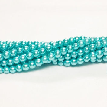 Turquoise Glass Pearls | Small Glass Beads | Glass Pearls | 4mm Glass Pearls | Beads | Faux Pearls | 4mm Round Beads | Jewelry Supply | T105