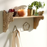 Plum & Bow Mara Carved Wood Wall Shelf-