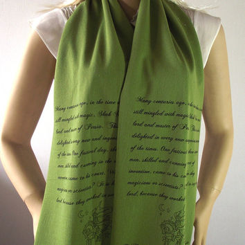 The Flying Horse Quote Scarf Jersey Scarf - One Thousand and One Nights Tales - OLIVE GREEN Scarf Hand Printed Text Scarf Literary Art Scarf