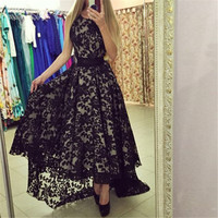 New 2016 Black And White Sexy Dress Women Sleeveless Prom Ball Party Dresses Long Maxi Lace Dress Vestido Q0081B