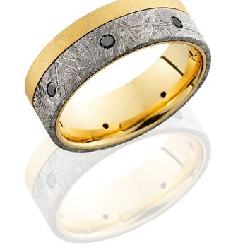 18K Yellow Gold wedding ring 8mm Flat Band with 5mm Off-Center Meteorite inlay and Seven .04ct Black Diamonds - TCW .28 hand crafted ring
