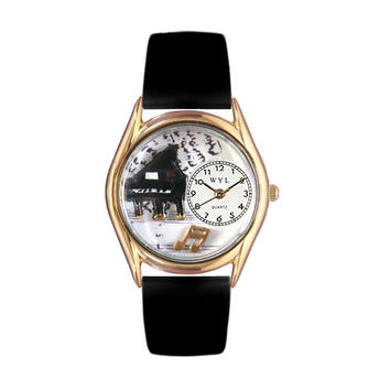 Whimsical Watches Healthcare Nurse Gift Accessories Music Piano Black Leather And Goldtone Watch