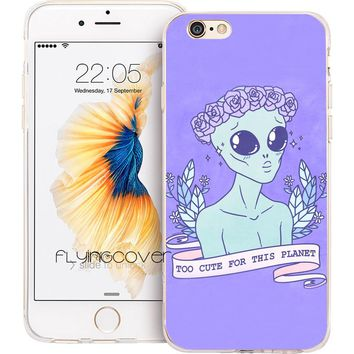 UFO Quotes Soft TPU Silicone Phone Cover for iPhone 7 7Plus Case for iPhone 5S 5 SE 6 6S Plus 5C 4S 4 Cases.