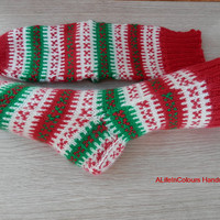 Turkish hand knitted women's unique warm Christmas socks.