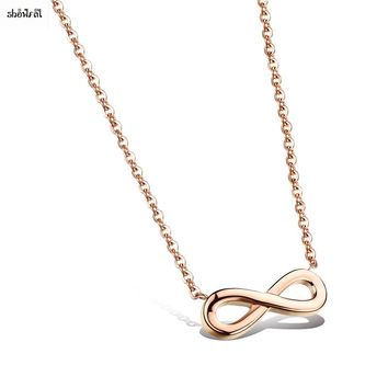 Classic Infinity Necklace Figure 8 Endless Love Necklace Timeless Symbol Stainless Steel Lucky Number Necklace Pendant for Women
