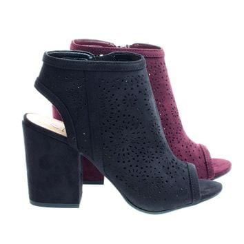 Parking Black by Delicious, Perforated Chunky Block Heel Sandal Bootie w Sling Back & Peep Toe