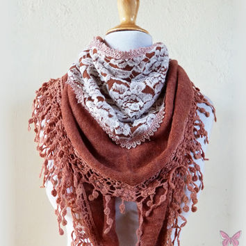 Scarf Olivia in TAUPE/BEIGE with rich lace by OriginalDesignsByAR