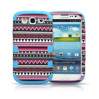 Comkes 3-Piece Hybrid High Impact Case Tribal Tribe Silicone Cover Skin For Samsung Galaxy S3 SIII i9300 (Blue)