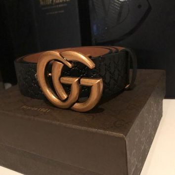 DCCKNX NWOT GUCCI GG belt mini Guccissima black double G buckle 95/38