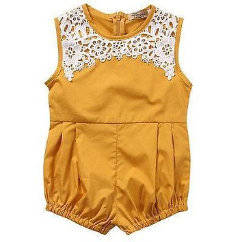 Newborn Infant Baby Girl Sleeveless Lace Floral Romper Jumpsuit Outfits Sunsuit Clothes