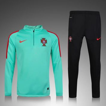 KUYOU Portugal Euro 2016/17 Green Men Tracksuit Slim Fit