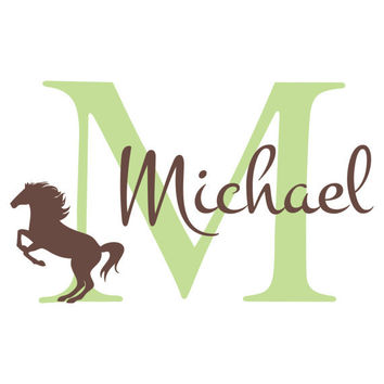 Personalized Boy Name Wall Decal - Initial & Name with Horse Western Theme Vinyl Wall Decal for Boy Baby Nursery Wall Art 22H x 36W CN011