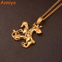 Anniyo King George and the Dragon Pendant Chain for Women/Men,Saint-George Slaying the Dragon Jewelry #106306
