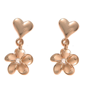 ROSE GOLD STERLING SILVER 925 HEART DANGLE HAWAIIAN PLUMERIA FLOWER EARRINGS