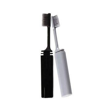 1Piece Bamboo Charcoal  Toothbrush Travel Camping Hiking Outdoor Easy Foldable Teethbrush  Portable Compact Bamboo Folding Brush