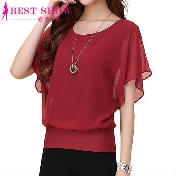New Womens Tops Fashion Women Summer Chiffon Blouse Plus Size Ruffle Batwing Short Sleeve Casual Shirt Black White Red Blue