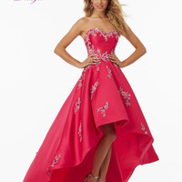 Dreagel Romantic Strapless Taffeta High Low Prom Dresses 2017 Asymmetrical Appliques Beaded Formal Gown Robe De Soiree Plus Size