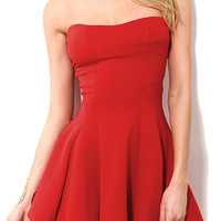 Red Strapless Mini Dress