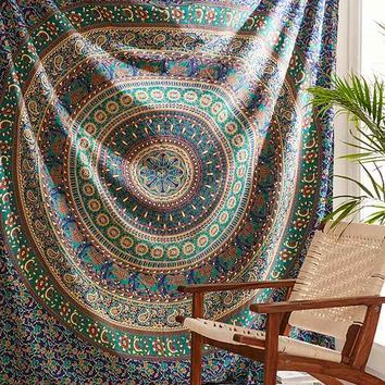 Magical Thinking Peacock Medallion Tapestry