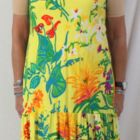 Jams World XL dress New Yellow Floral Rayon Tank Vacation Beach Florest