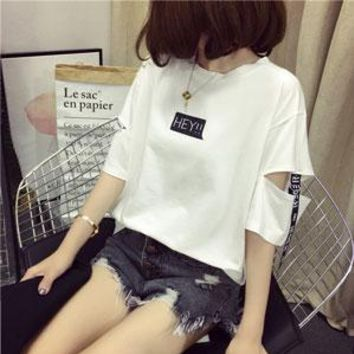 Tops and Tees T-Shirt 2018 news style girls wear summer casual fashion brand Korean harajuku women  half sleeve letter loose hollow out t shirt AT_60_4 AT_60_4